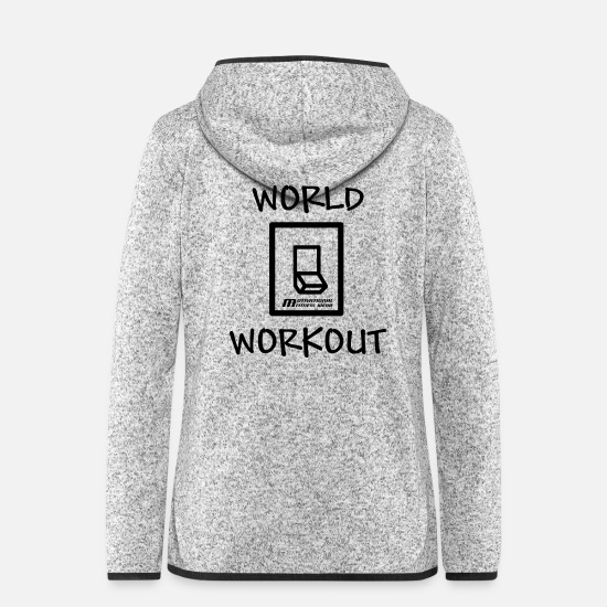 Muskel Jacken - World off workout on! - Frauen Fleece Kapuzenjacke Hellgrau meliert