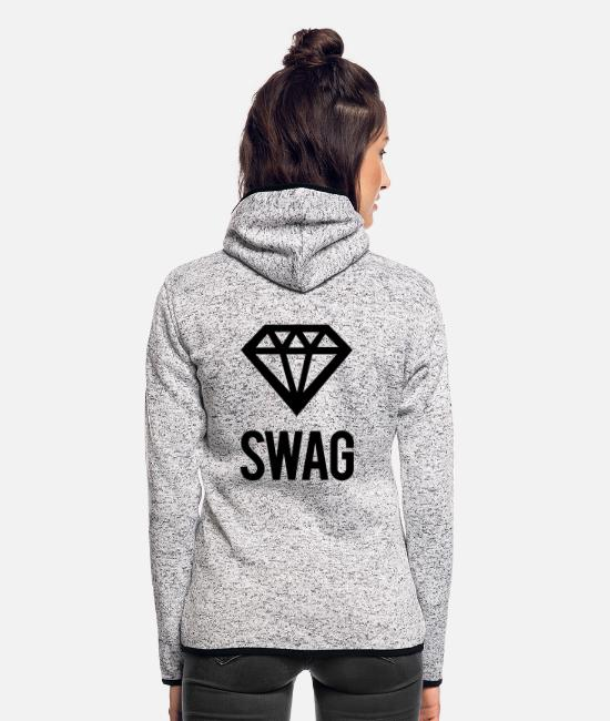 Swag Diamond Jacken - Swag Diamond - Frauen Fleece Kapuzenjacke Hellgrau meliert