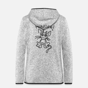 Small cat is very hungry - Women's Hooded Fleece Jacket