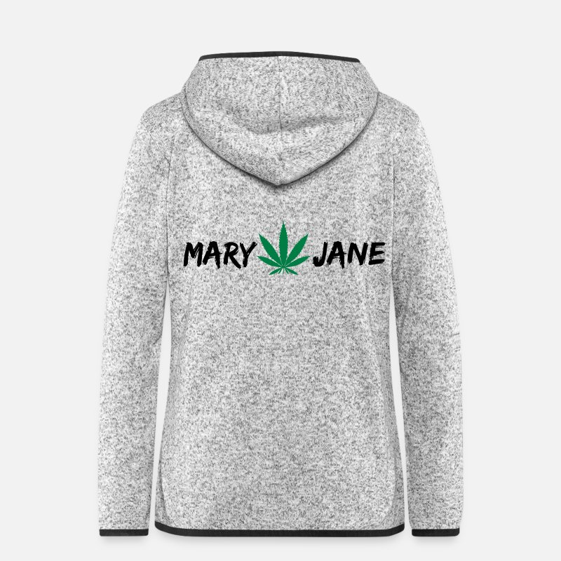 Hemp Jackets & Vests - MARY JANE CANNABIS WEED 420 - Women's Hooded Fleece Jacket light heather grey