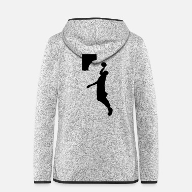 Jump Shot Basketball player dunk shot -1 - Women's Hooded Fleece Jacket
