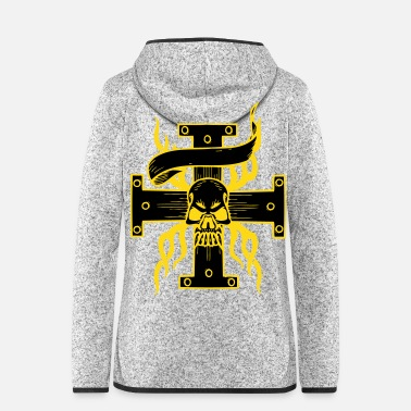 Tatoo Totenkopf am Kreuz - Frauen Fleece Kapuzenjacke