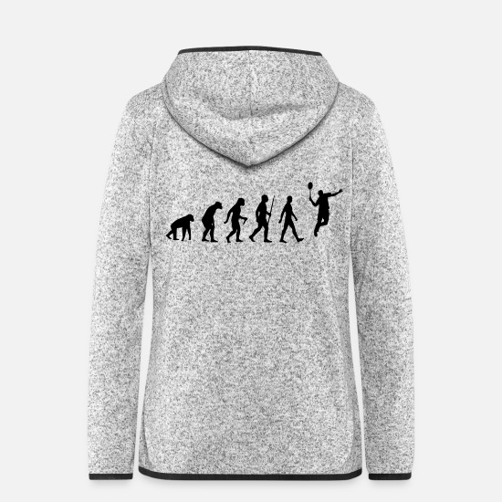 Play Jackets & Vests - Evolution - badminton, badminton, human, monkey - Women's Hooded Fleece Jacket light heather grey