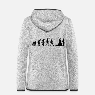 Evolution - bride, groom, marriage, couple, wedding - Women's Hooded Fleece Jacket
