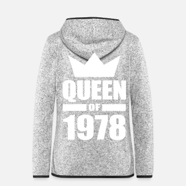 Year Of Birth round birthday year of birth 1978 Queen - Women's Hooded Fleece Jacket