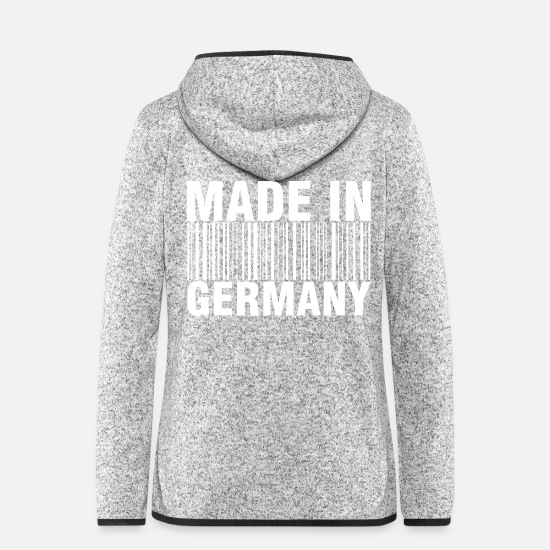 Schland Jacken & Westen - Made in Germany - Frauen Fleece Kapuzenjacke Hellgrau meliert