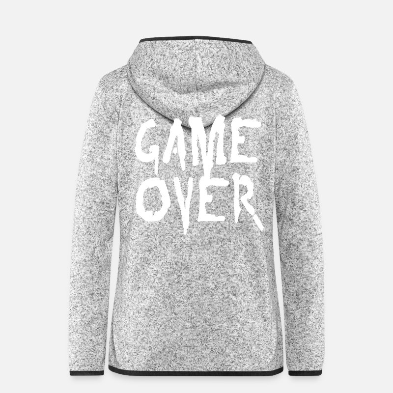 Game Over Jackets & Vests - game over - Women's Hooded Fleece Jacket light heather grey