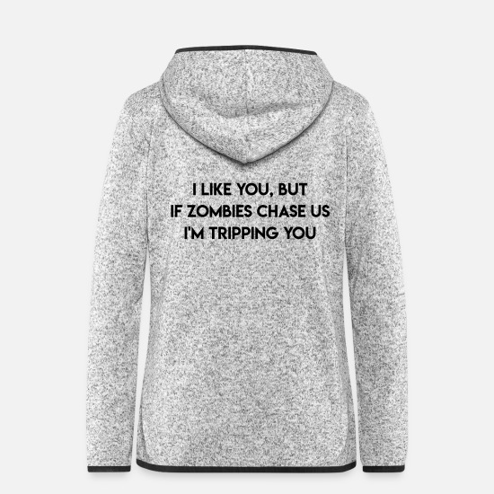 "Writing Jackets & Vests - T-shirt design ""I like you but ..."" - Women's Hooded Fleece Jacket light heather grey"
