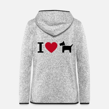 Shade I love dogs heart and dogs pictogram graphic - Women's Hooded Fleece Jacket