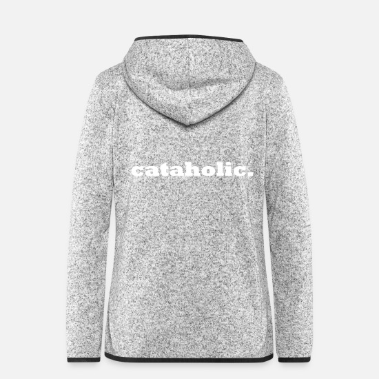 Gift Idea Jackets & Vests - cataholic cats addiction - Women's Hooded Fleece Jacket light heather grey