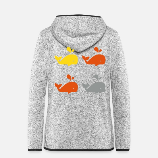 Marine Animal Jackets & Vests - Whale sperm whale whale orca blue whale sea marine animal - Women's Hooded Fleece Jacket light heather grey