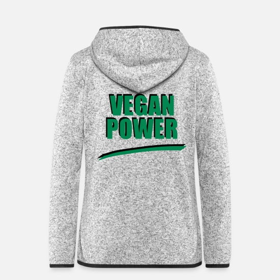 Vegan Jackets & Vests - VEGAN POWER Statement Gift Birthday Baby - Women's Hooded Fleece Jacket light heather grey