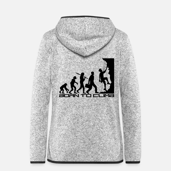 Development Jackets & Vests - born to climb evolution evolution born steep - Women's Hooded Fleece Jacket light heather grey