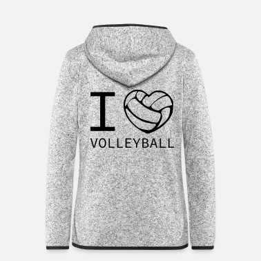 I Love I love volleyball - Women's Hooded Fleece Jacket