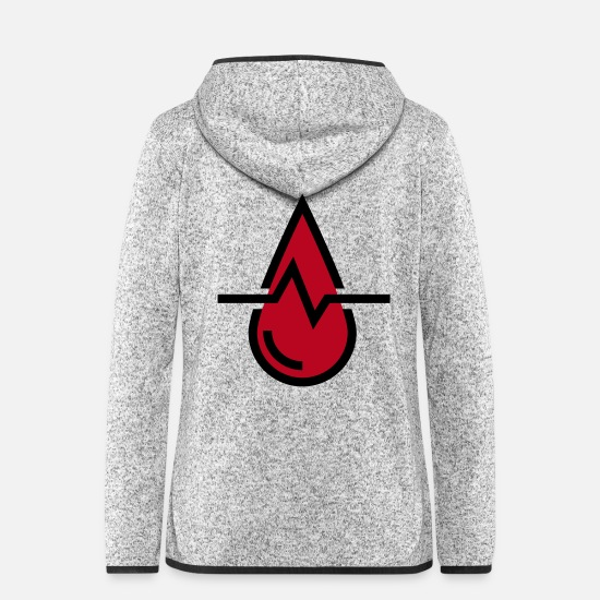 Blood Splatter Jackets & Vests - Blood pressure blood, drops of blood - Women's Hooded Fleece Jacket light heather grey
