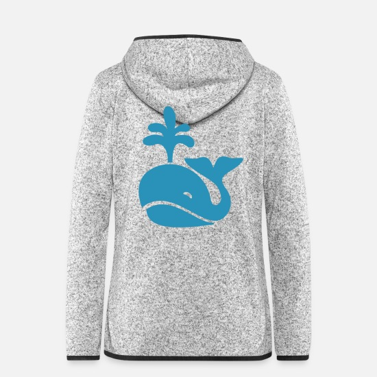 Marine Animal Jackets & Vests - Whale humpback whale Orka blue whale dolphin gift idea - Women's Hooded Fleece Jacket light heather grey
