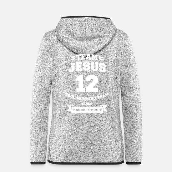 Team Jackets & Vests - Team Jesus Cool Christian Christ Fan Shirt - Women's Hooded Fleece Jacket light heather grey
