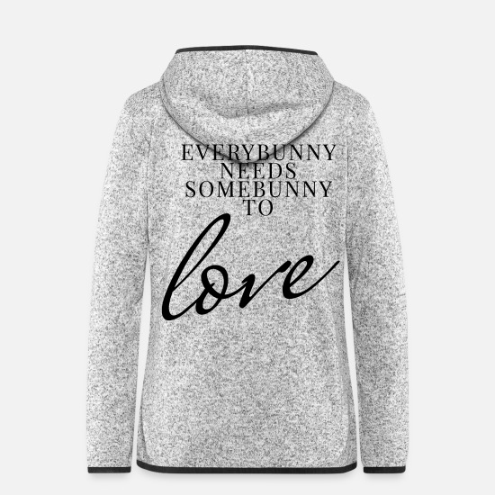 Romantisch Jacken & Westen - everybunny needs somebunny - Frauen Fleece Kapuzenjacke Hellgrau meliert