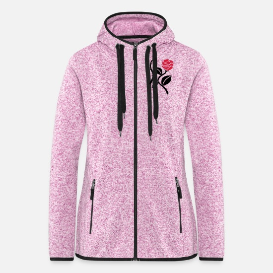 Flowers Jackets & Vests - Roses - Women's Hooded Fleece Jacket purple heather