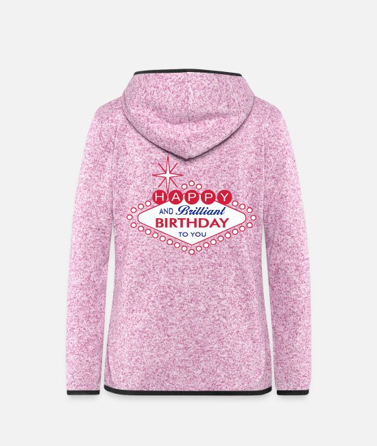 Brilliant Jacken - Happy Birthday Las Vegas Style - Frauen Fleece Kapuzenjacke Lila meliert