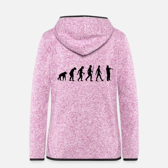 Trumpets Jackets & Vests - Trumpet. Evolution, human, monkey music instrument - Women's Hooded Fleece Jacket purple heather