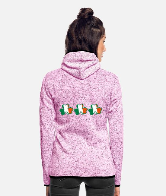 Best Awesome Superb Cool Amazing Identity Ethnicity Race People Language Country Design Jackets - ♥ټ☘Kiss the Irish Shamrocks to Get Lucky☘ټ♥ - Women's Hooded Fleece Jacket purple heather