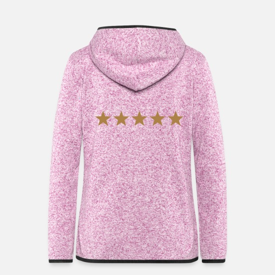 Grandmother Jackets - 5 stars - DE LUXE, winner, best, award, badge - Women's Hooded Fleece Jacket purple heather