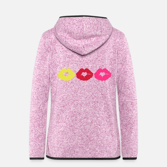 I Love You I Want To Kiss You Passionate Beautiful Sexy Full Lips Neon Hot Pink Fuchsia Baby Pink Jackets - ♥ټXxSexy Hearted Luscious Sensual Lips xXټ♥ - Women's Hooded Fleece Jacket purple heather