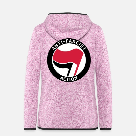 Antifascist Jackets - Anti-Fascist Action - Women's Hooded Fleece Jacket purple heather