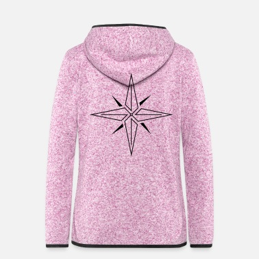 Model Topmodel Line Compass Rose (Schwarz) - Frauen Fleece Kapuzenjacke