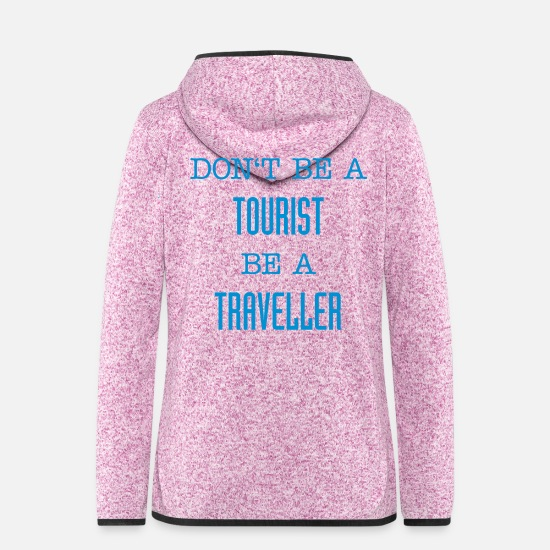Reise Jacken & Westen - Don't be a tourist be a traveller. - Frauen Fleece Kapuzenjacke Lila meliert