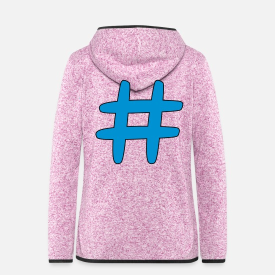 Symbol  Jackets - hash tag - Women's Hooded Fleece Jacket purple heather