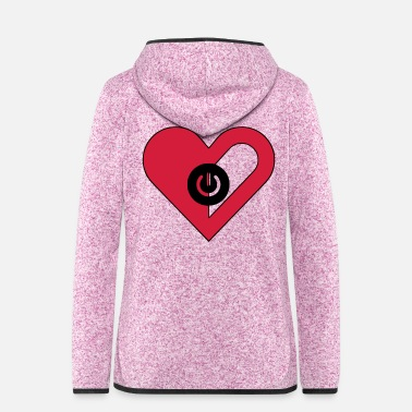 Off Herz, heart, on off, Ein Aus - Frauen Fleece Kapuzenjacke