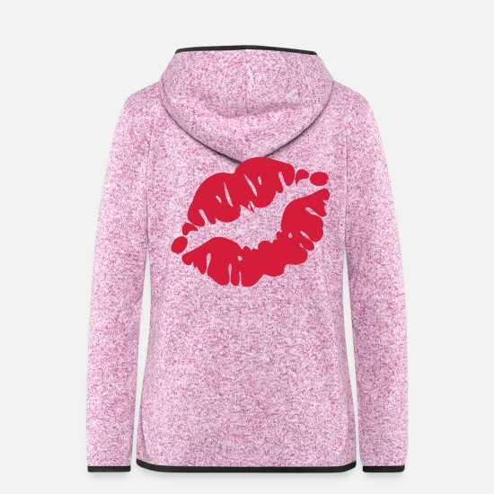 I Love Kissing Vector Lovely Sexy Full Luscious Wrinkly Lips Design For I Love Kissing T Shirts Jackets - ♥ټXxSexy Red Luscious Kissable Sensual Lips xXټ♥ - Women's Hooded Fleece Jacket purple heather