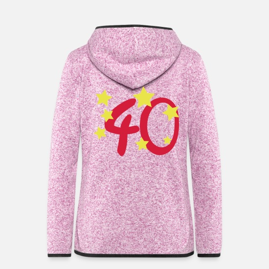 Birthday Jackets - 40 with asterisk - Women's Hooded Fleece Jacket purple heather
