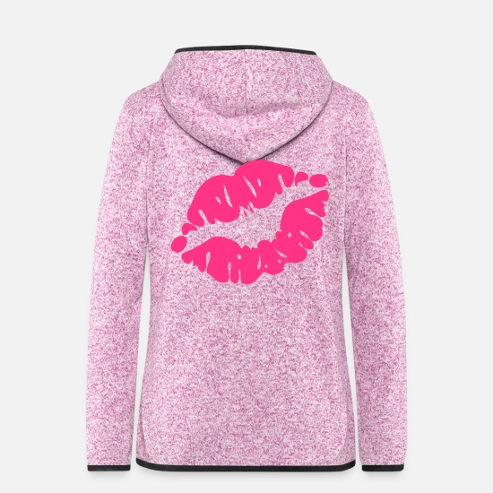 I Love Kissing Vector Lovely Sexy Full Luscious Wrinkly Lips Design For I Love Kissing T Shirts Jackets - ♥ټXxSexy Hot Pink Luscious Kissy Sensual Lips xXټ♥ - Women's Hooded Fleece Jacket purple heather