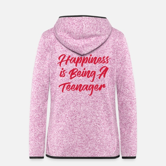 Teenager Jackets - Happiness is being a Teenager - Women's Hooded Fleece Jacket purple heather