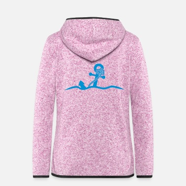 Under Water Anchor under water waves design - Women's Hooded Fleece Jacket