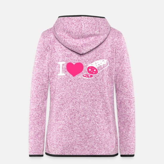 Pink Jackets & Vests - I love ... - Women's Hooded Fleece Jacket purple heather