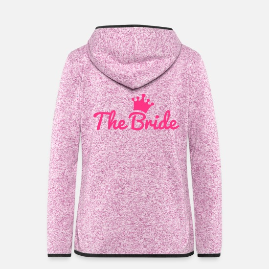 Bride Jackets & Vests - bride - Women's Hooded Fleece Jacket purple heather