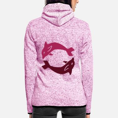 Wale ★ design colors changeable ★ dolphins in a circle - Women's Hooded Fleece Jacket