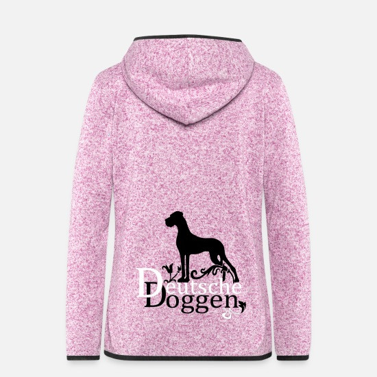 Deutsche Dogge Jackets - DeutscheDoggen_3f_dec - Women's Hooded Fleece Jacket purple heather