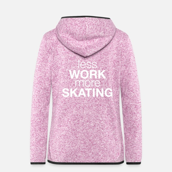 Longboard Jacken - less work more skating - Frauen Fleece Kapuzenjacke Lila meliert