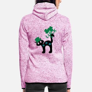 Gluecksbringer Luck kitty cat St.Patty Tag - Frauen Fleece Kapuzenjacke