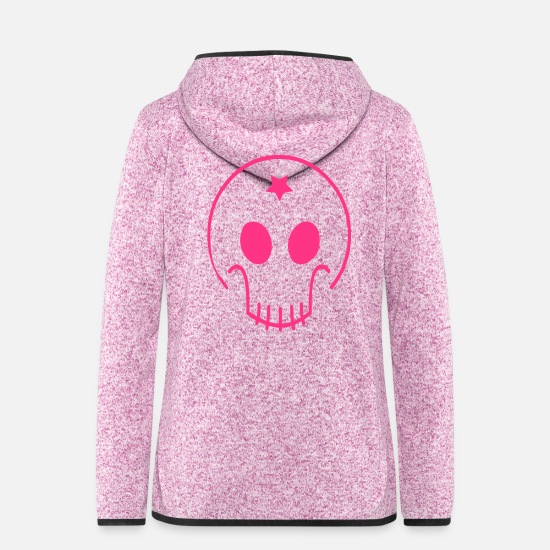 Pink Jackets - Skull Star - Women's Hooded Fleece Jacket purple heather