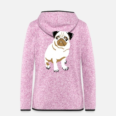 Sit Pug sitting - Women's Hooded Fleece Jacket
