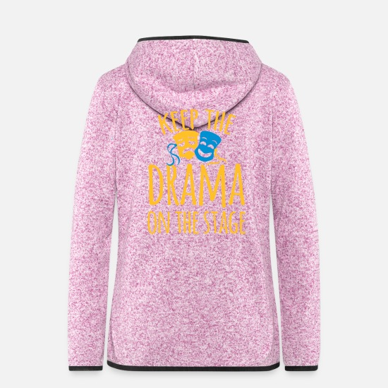 College Jackets - keep the drama on the stage - Women's Hooded Fleece Jacket purple heather