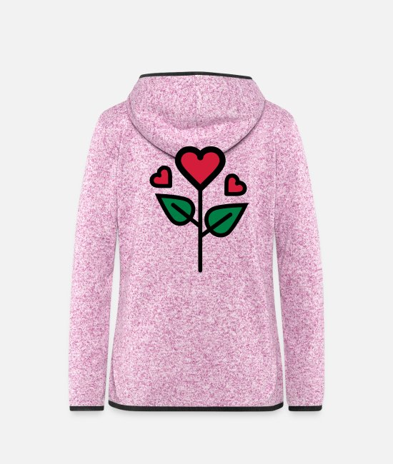 Wedding Day Jackets - Valentine's Rose in heart shape - Women's Hooded Fleece Jacket purple heather
