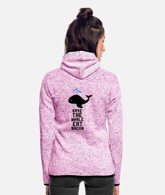 Navy Jacken - Save The Whale essen Speck - Frauen Fleece Kapuzenjacke Lila meliert