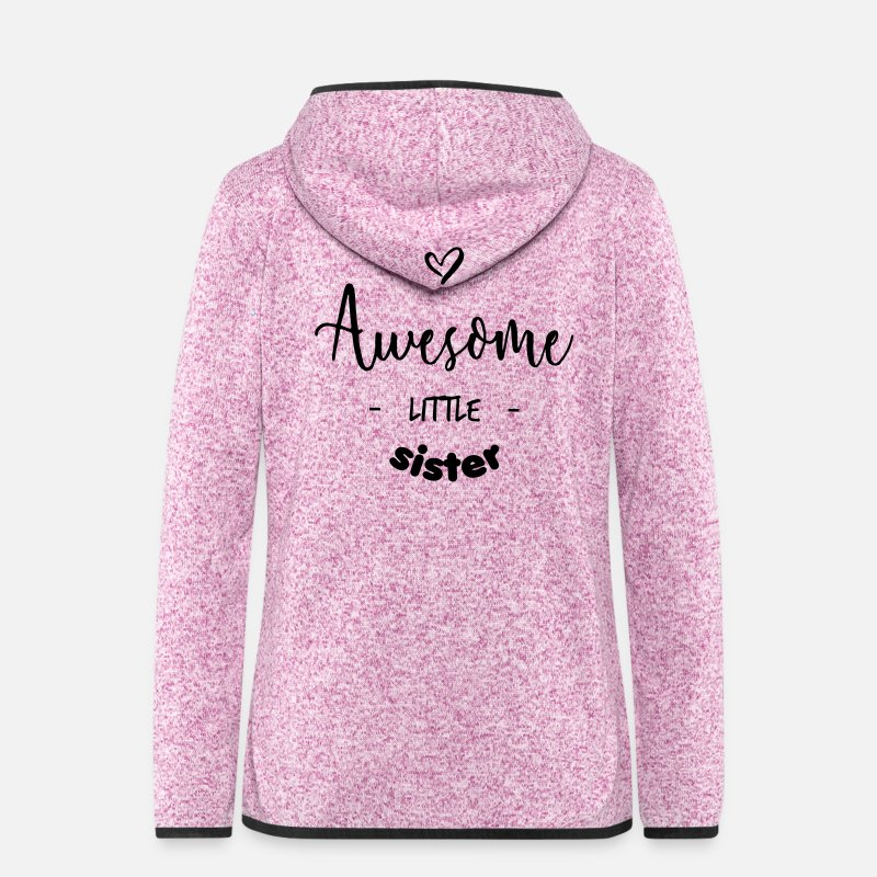 Awesome Jackets & Vests - Awesome Little Sister - Women's Hooded Fleece Jacket purple heather